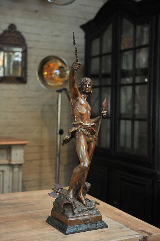 Late 19th century French regule statue named: VICI. very nice bronze patina original marble base .Excellent condition Signed .Louis Moreau (1855 / 1919).