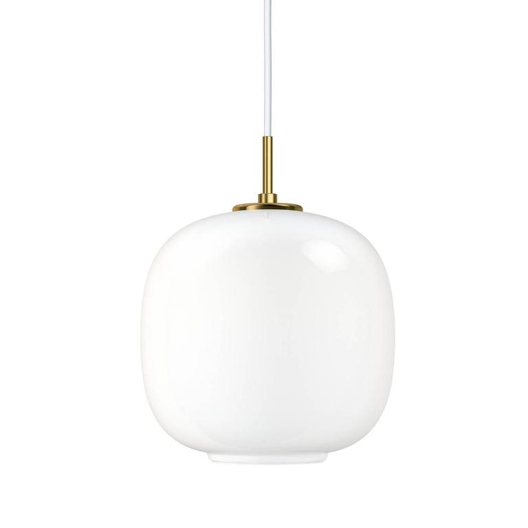 Vilhelm Lauritzen VL45 'Radiohus' pendants for Louis Poulsen. Executed in hand blown glossy white opal glass, brushed brass pendant tube, white metal canopy and white cord. This listing is for the smaller sized pendant. Also available in larger 17.6