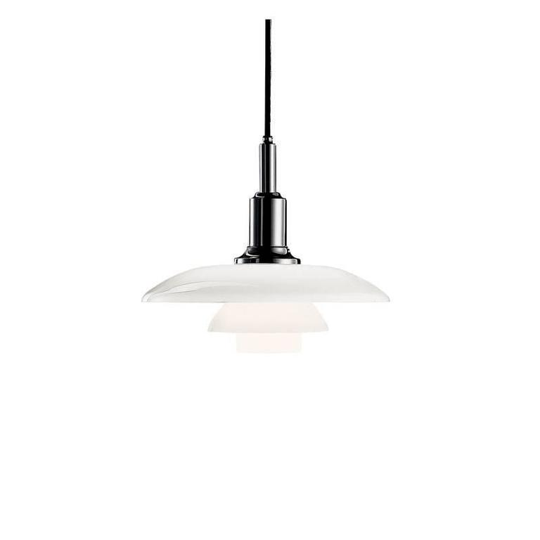 Poul Henningsen PH 3/2 glass pendants for Louis Poulsen. The PH 3/2 Pendant Light's shades are made of hand blown opal three layer glass, which is glossy on top and sandblasted matte on the underside, giving a soft and uniform light distribution.