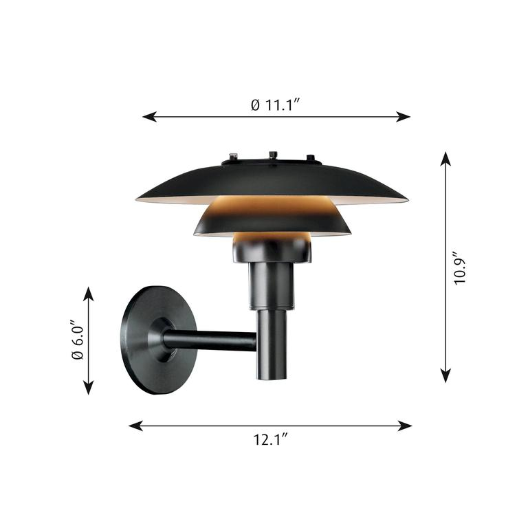 Poul Henningsen PH 3-2/5 outdoor wall light for Louis Poulsen. Based on Poul Henningsen's revolutionary reflective three-shade system, which directs the majority of the light downward. The light features spun black powder coated stainless steel