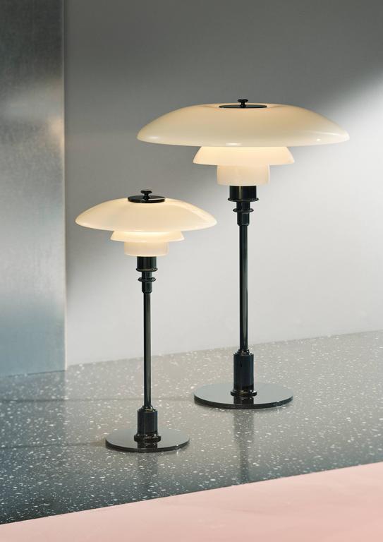 Danish Poul Henningsen Opaline Glass PH 3½-2½ Table Lamp for Louis Poulsen For Sale
