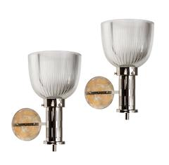 1960s Sergio Mazza Glass and Nickel Sconces for Artemide