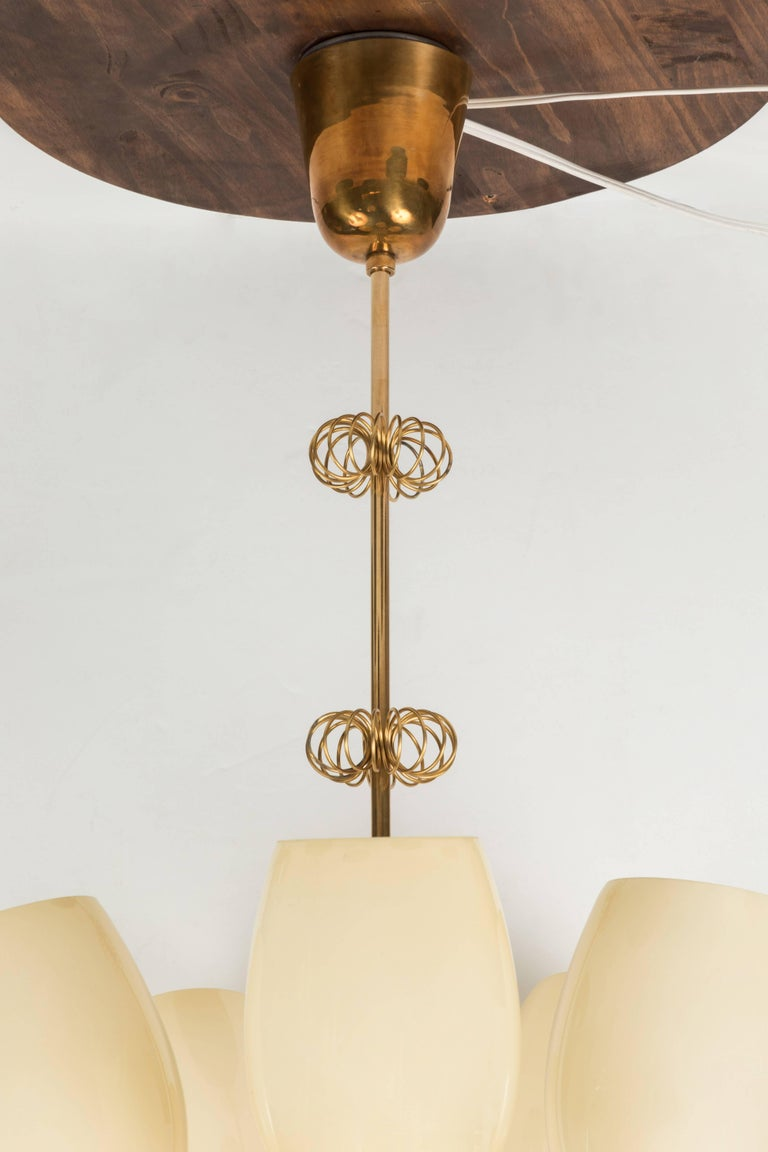Mid-20th Century 1950s Paavo Tynell Five-Glass Chandelier for Taito Oy For Sale