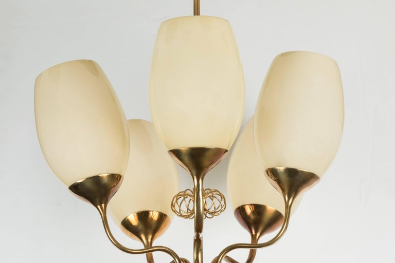 Finnish 1950s Paavo Tynell Five-Glass Chandelier for Taito Oy For Sale