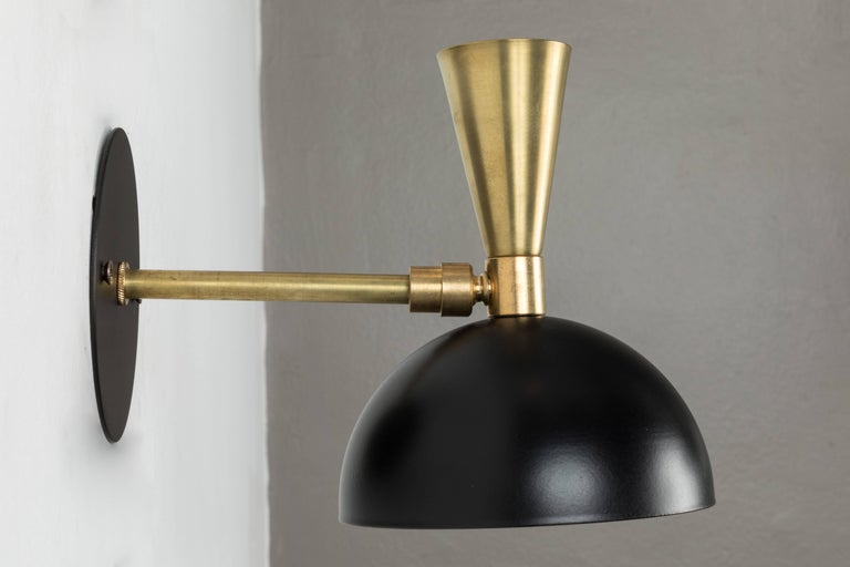 American Pair of 'Lola' Brass and Metal Adjustable Sconces For Sale