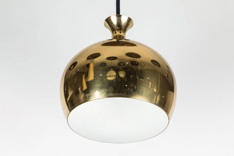 Swedish 1960s Brass Perforated 'Onion' Pendants by Helge Zimdal for Falkenberg For Sale