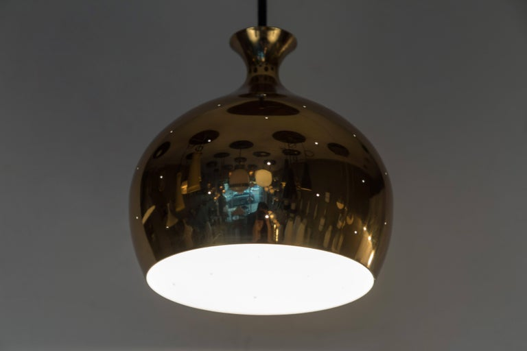 Mid-20th Century 1960s Brass Perforated 'Onion' Pendants by Helge Zimdal for Falkenberg For Sale