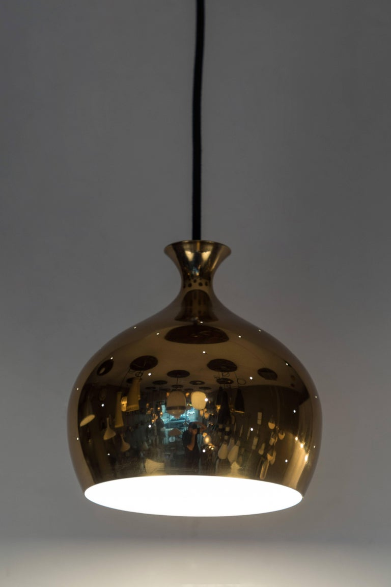 1960s Brass Perforated 'Onion' Pendants by Helge Zimdal for Falkenberg In Good Condition For Sale In Glendale, CA