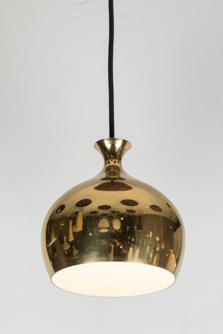 Scandinavian Modern 1960s Brass Perforated 'Onion' Pendants by Helge Zimdal for Falkenberg For Sale