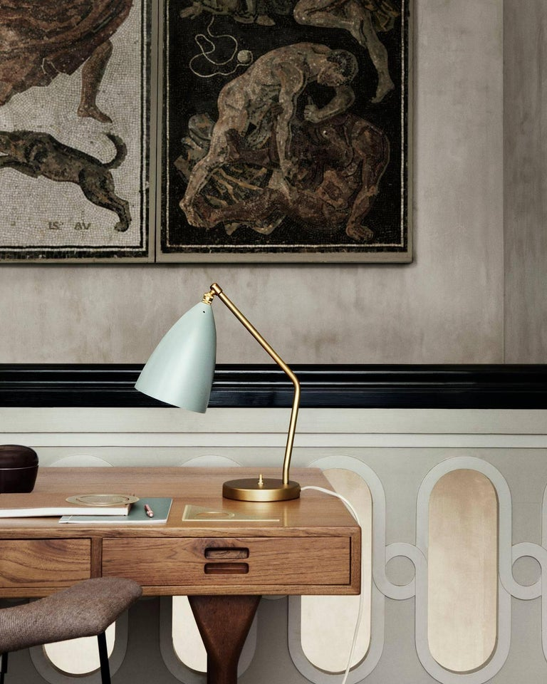 Greta Magnusson Grossman 'Grasshopper' table lamp in light grey. Designed in 1947 by Grossman, this is an authorized re-edition by GUBI of Denmark who meticulously reproduces her work with scrupulous attention to detail and materials that are