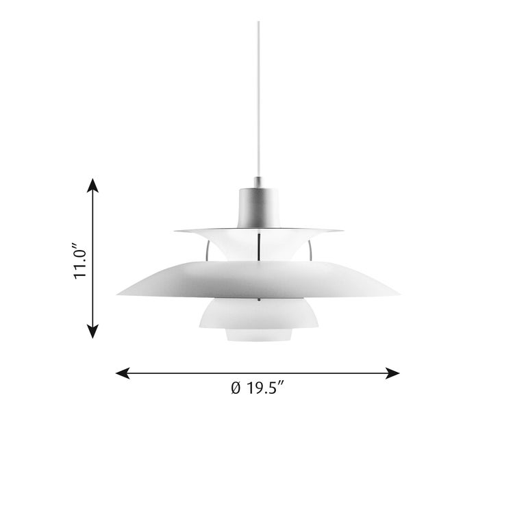 Poul Henningsen PH 5 pendant for Louis Poulsen in modern white. Poul Henningsen introduced his iconic PH 5 pendant light in 1958. Six decades later, the PH 5 remains the bestselling design in the Louis Poulsen's portfolio. The PH 5's painted metal