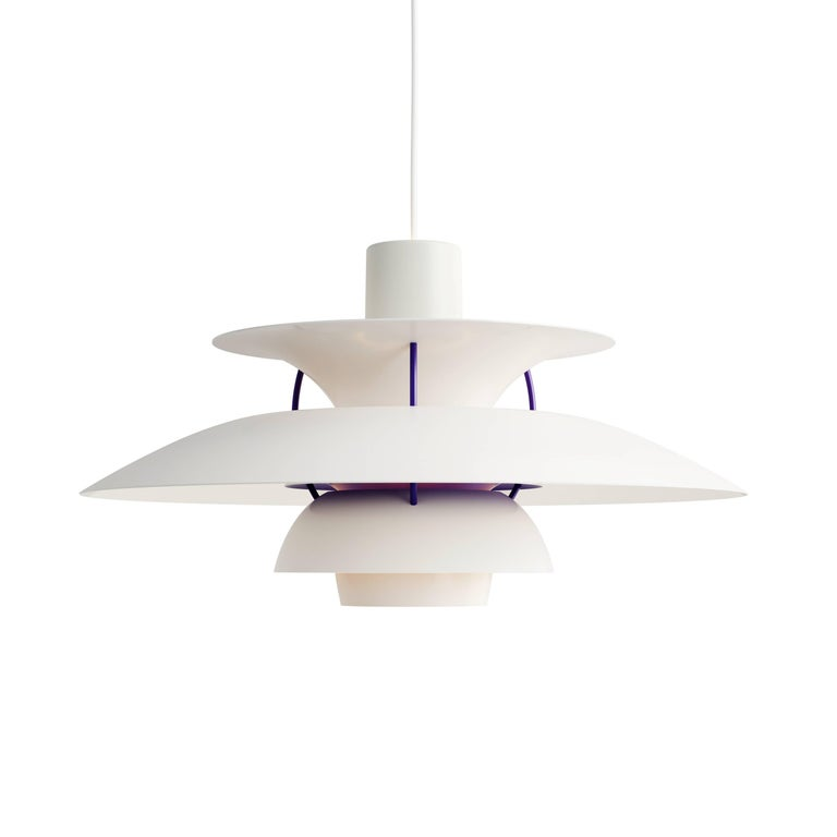 Poul Henningsen PH 5 Pendant for Louis Poulsen in Gray In Excellent Condition For Sale In Glendale, CA