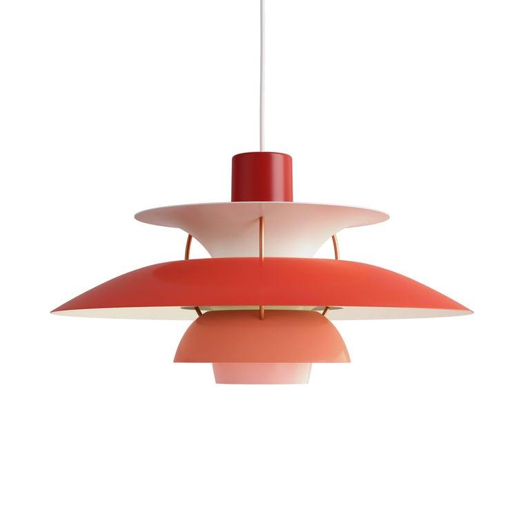 Poul Henningsen PH 5 Pendant for Louis Poulsen in Orange For Sale 2
