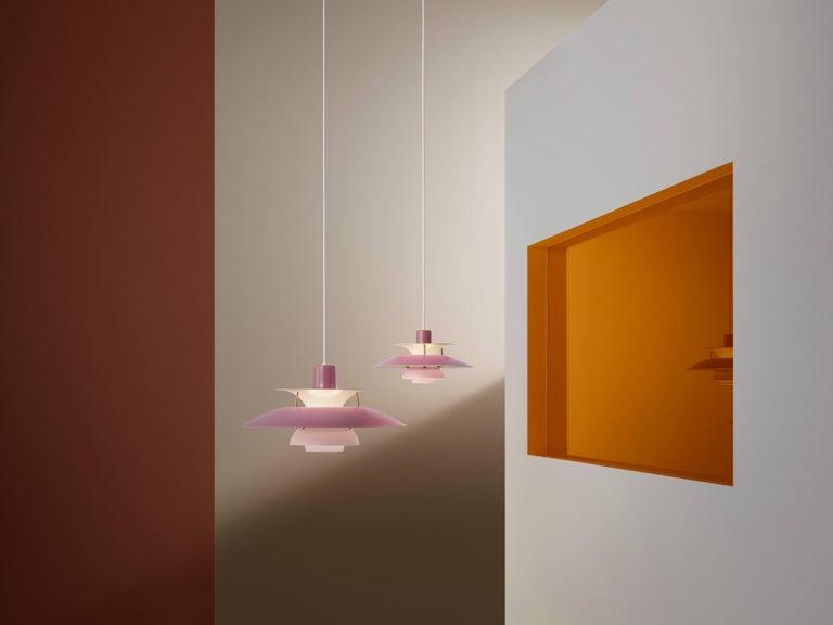 Poul Henningsen PH 5 Pendant for Louis Poulsen in Orange For Sale 6
