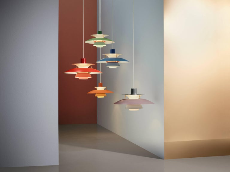 Poul Henningsen PH 5 Pendant for Louis Poulsen in Red. Poul Henningsen introduced his iconic PH 5 pendant light in 1958. Six decades later, the PH 5 remains the bestselling design in the Louis Poulsen's portfolio. The PH 5's painted metal shades