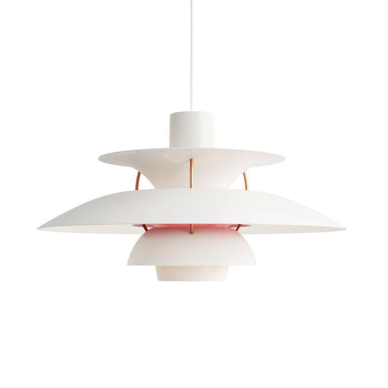 Contemporary Poul Henningsen PH 5 Pendant for Louis Poulsen in Red For Sale