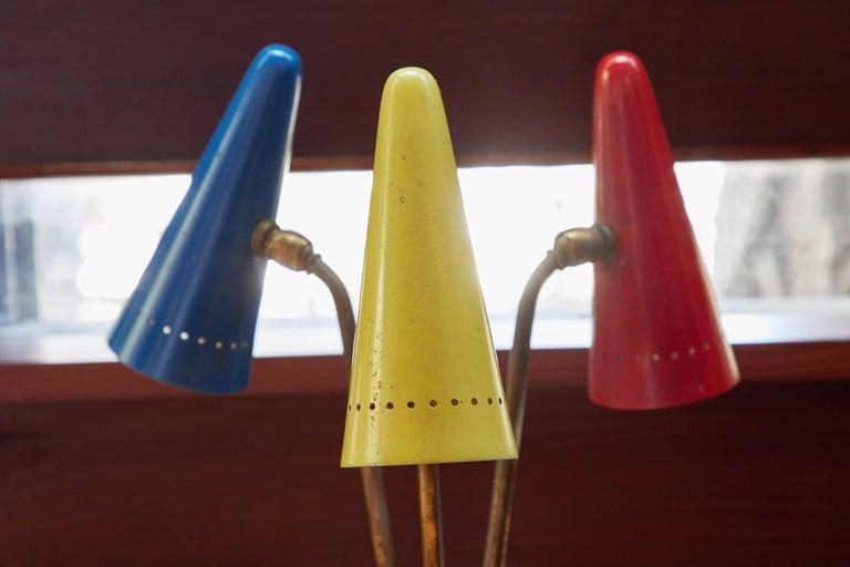 Metal 1950s Arteluce Tricolore Table Lamp For Sale