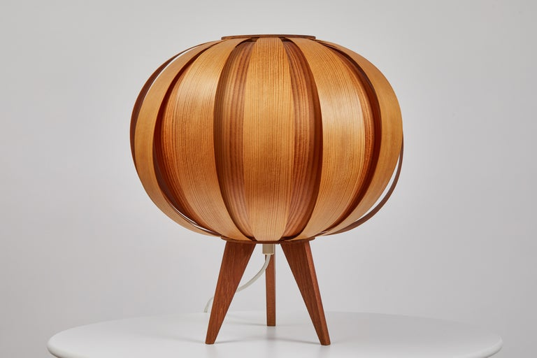 Scandinavian Modern Pair of 1960s Hans-Agne Jakobsson Wood Table Lamps for AB Ellysett For Sale