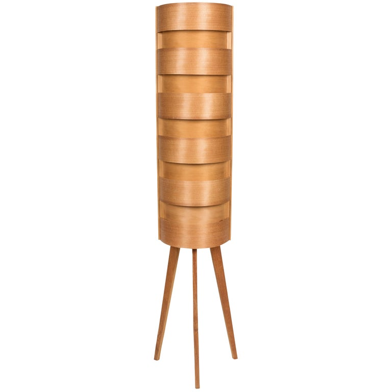 1960s Hans-Agne Jakobsson Wood Tripod Floor Lamp for AB Ellysett