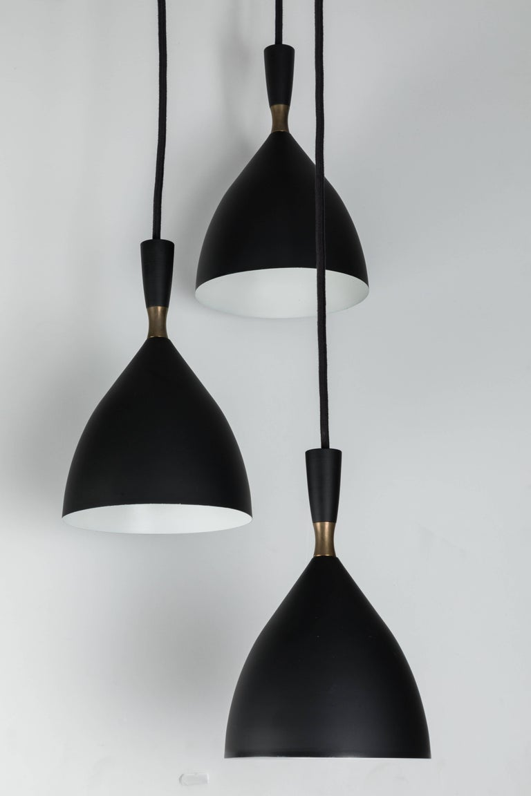 Scandinavian Modern 1950s Birger Dahl Three-Cone Cascading Chandelier for Sonnico For Sale
