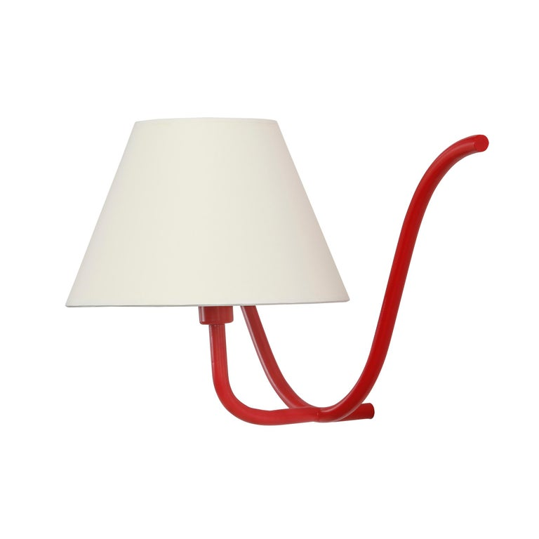 Jean Royère style Ondulation I wall light in red. Handcrafted in Los Angeles in the workshop of noted French designer and antiques dealer Denis de le Mesiere, who pays homage to the work of Jean Royère with scrupulous attention to detail and