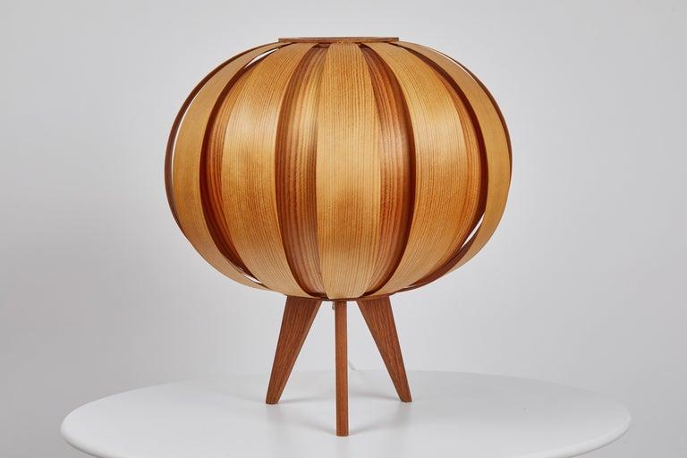 Swedish 1960s Hans-Agne Jakobsson Wood Table Lamp for AB Ellysett For Sale