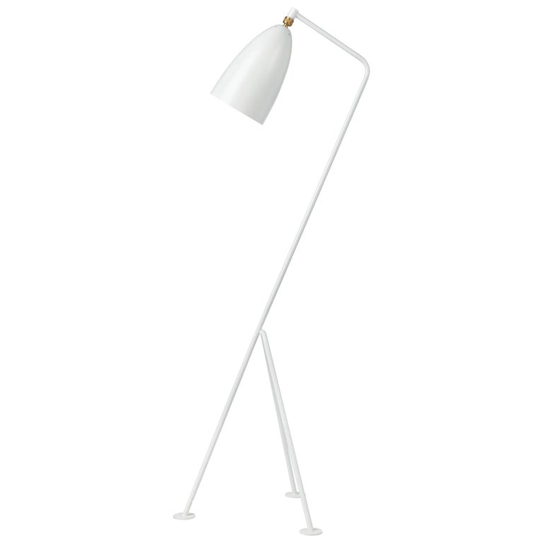 Greta Magnusson Grossman 'Grasshopper' floor lamp in yellow. Designed in 1947 by Grossman, this is an authorized re-edition by GUBI of Denmark who meticulously reproduces her work with scrupulous attention to detail and materials that are faithful
