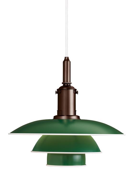 The PH 3½-3 pendants are an addition to the Louis Poulsen PH collection and is based on Poul Henningsen's original drawings from the late 1920s and early 1930s, featuring his renowned three-shade system.  The pendant has metal shades, available in