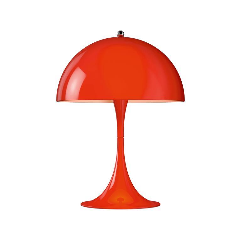 Verner Panton Panthella Mini LED table lamp for Louis Poulsen.  The Panthella mini LED table lamp uses Verner Panton's original drawings to produce an organically shaped lamp with a metal shade. The Panthella table lamp, originally designed in 1971,