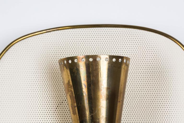 Mid-20th Century 1950s Jacques Biny Brass and Perforated Metal Sconces for Luminalite For Sale