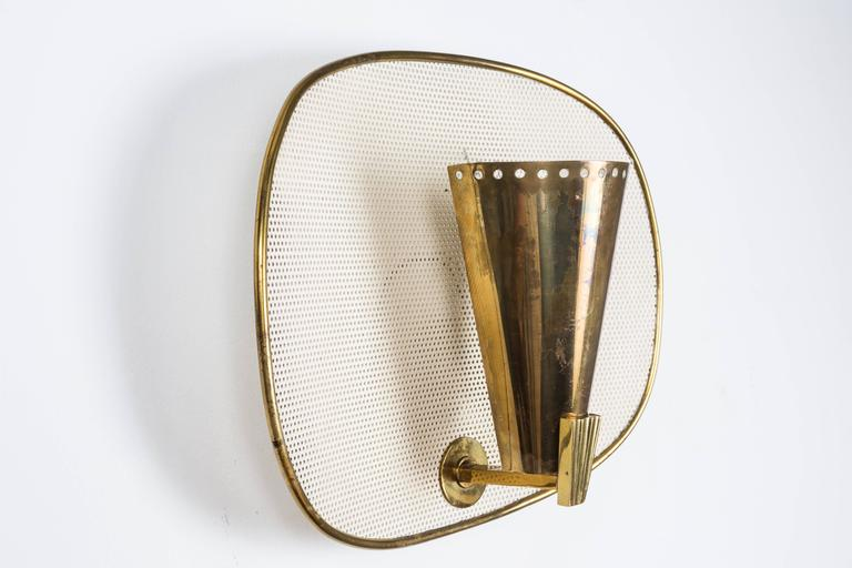 Mid-Century Modern 1950s Jacques Biny Brass and Perforated Metal Sconces for Luminalite For Sale