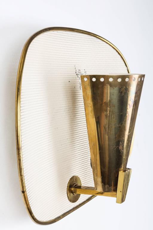 French 1950s Jacques Biny Brass and Perforated Metal Sconces for Luminalite For Sale