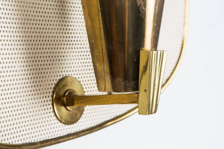 1950s Jacques Biny Brass and Perforated Metal Sconces for Luminalite In Good Condition For Sale In Glendale, CA