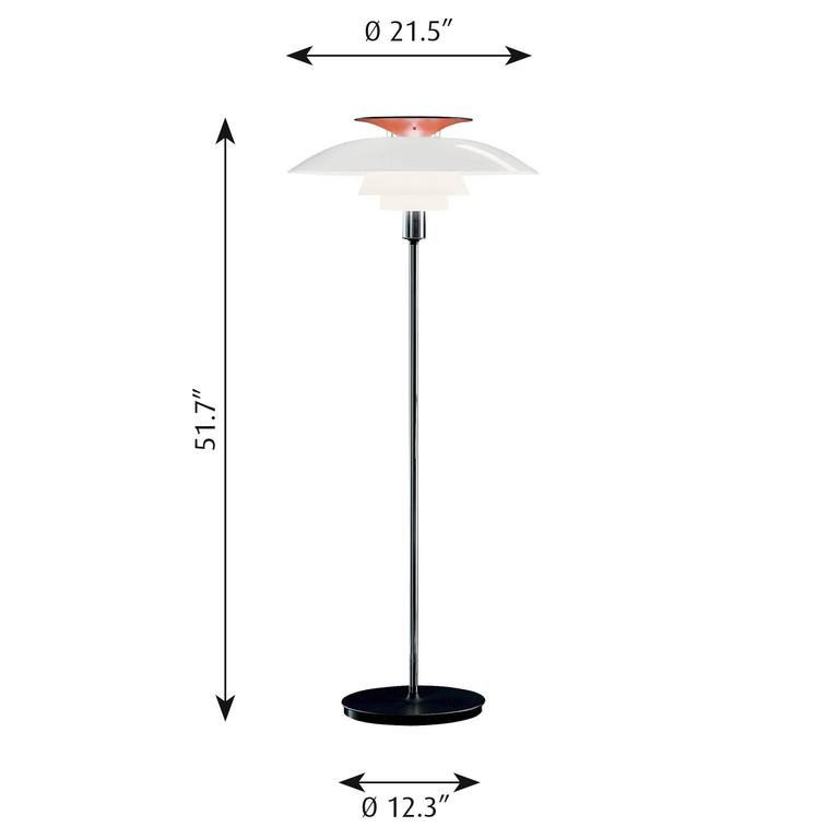 Poul Henningsen PH 80 floor lamp for Louis Poulsen. The PH 80 was put into production after Henningsen's death, as a celebration of what would have been his 80th birthday. A designer focused on the future, Henningsen had been working with plastic