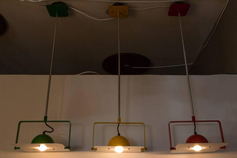 Mid-Century Modern Set of 3 1980s Tronconi 'Tricolore' Pendants in the Manner of Joe Colombo For Sale
