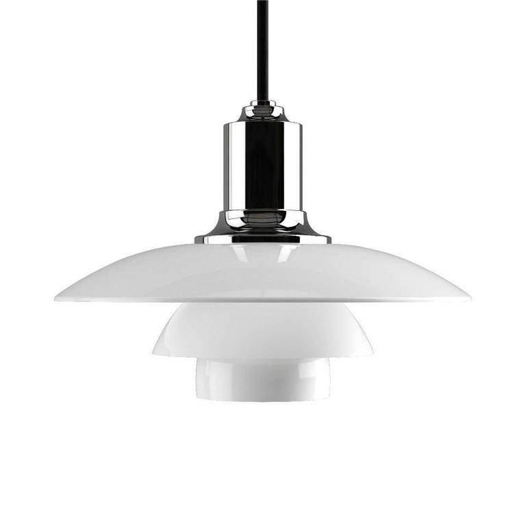 Scandinavian Modern Poul Henningsen PH 2/1 Opaline Glass Pendant for Louis Poulsen For Sale