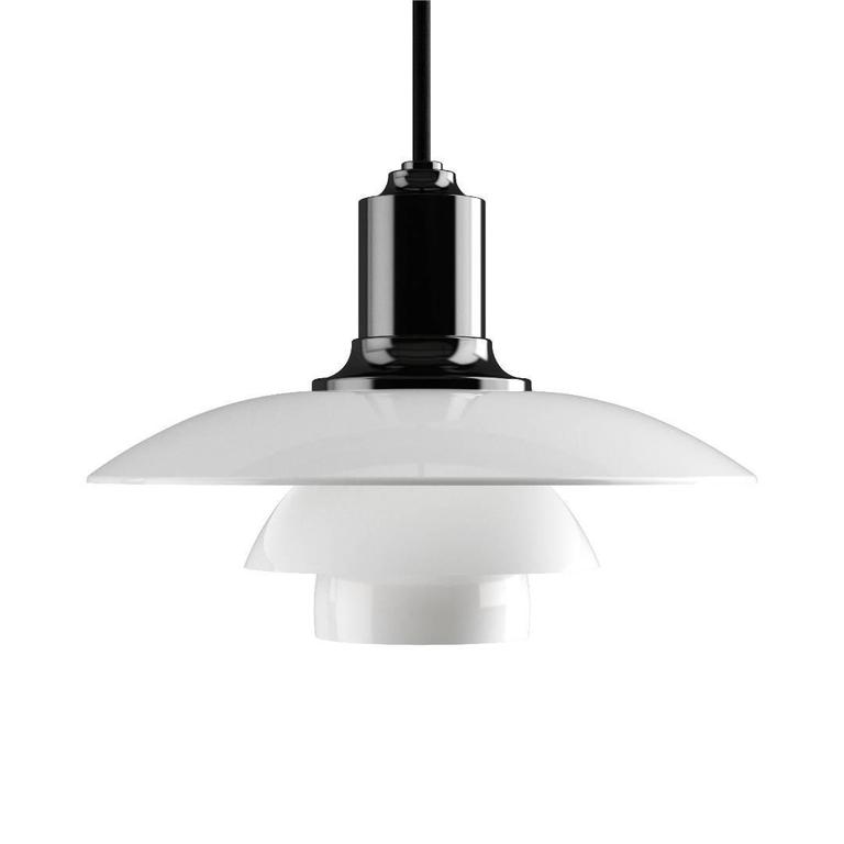 Poul Henningsen PH 2/1 opaline glass pendants for Louis Poulsen. Executed in white opal glass and a chrome or black metallized frame. The Industrial look of the dark metallized surface offers a bold, understated look. The mouth-blown white opal