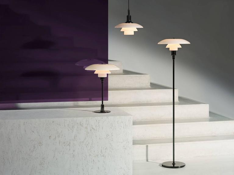 Metal Poul Henningsen Opaline Glass PH 3½-2½ Floor Lamp for Louis Poulsen For Sale