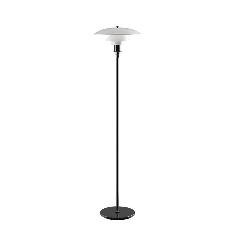 Poul Henningsen opaline glass PH 3½-2½ floor lamp for Louis Poulsen. Executed in white opal glass and a chrome or black metallised frame. The Industrial look of the black metallised surface offers a bold, understated look, while the chrome is simply