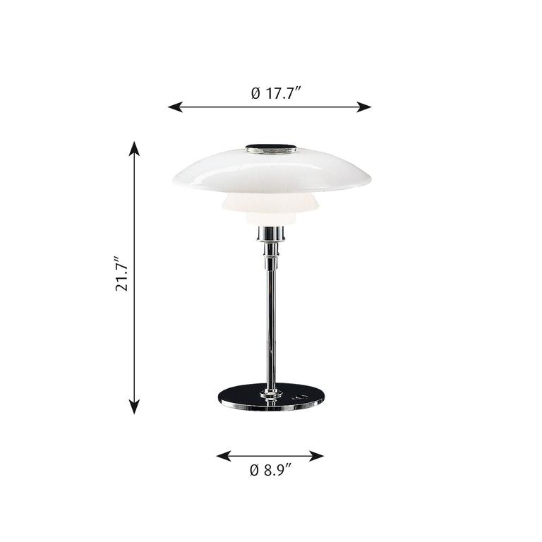 Poul Henningsen large PH 4½-3½ glass table lamp for Louis Poulsen. Poul Henningsen opaline glass PH 4½-3½ table lamp for Louis Poulsen. Executed in white opal glass and a chrome frame. The Industrial look of the chrome surface offers a bold,