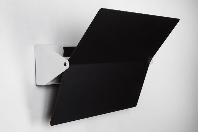Mid-Century Modern Charlotte Perriand Large Black Folded Swivel Wall Light For Sale
