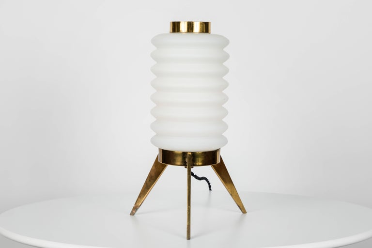 Mid-Century Modern 1950s Angelo Lelli Glass and Brass Tripod Table Lamp for Arredoluce For Sale