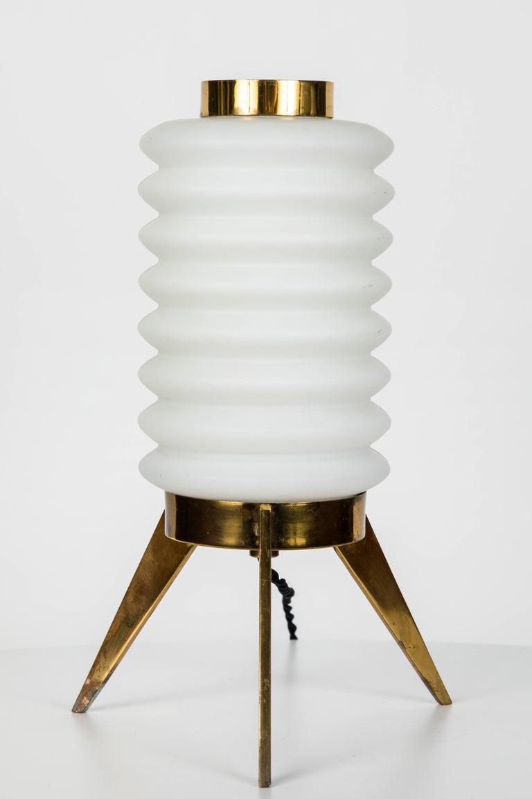 Italian 1950s Angelo Lelli Glass and Brass Tripod Table Lamp for Arredoluce
