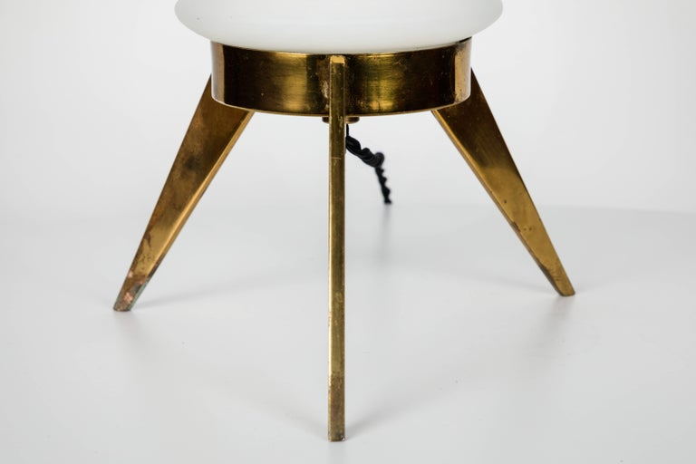 1950s Angelo Lelli Glass and Brass Tripod Table Lamp for Arredoluce 1