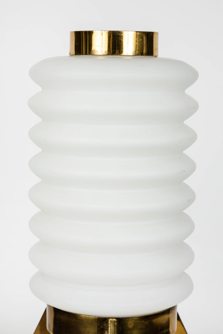 Mid-20th Century 1950s Angelo Lelli Glass and Brass Tripod Table Lamp for Arredoluce