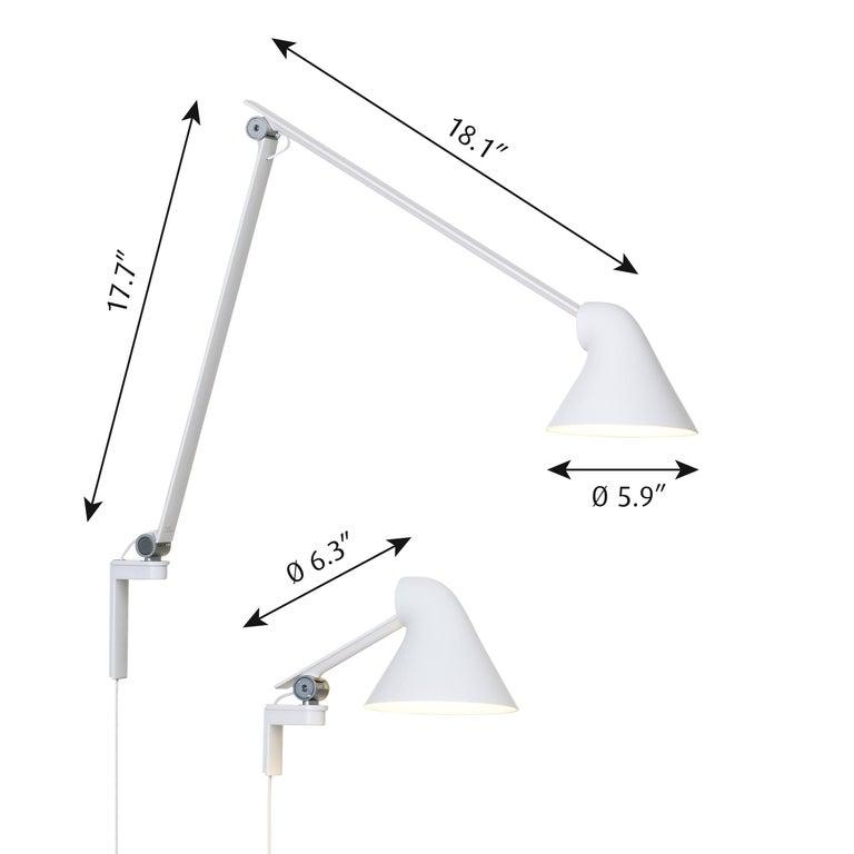 Mid-Century Modern Oki Sato NJP White Large Wall Light for Louis Poulsen For Sale