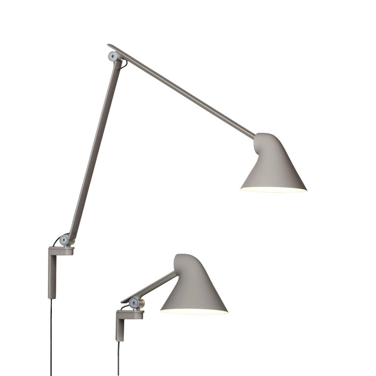 Mid-Century Modern Oki Sato NJP Gray Large Wall Light for Louis Poulsen For Sale