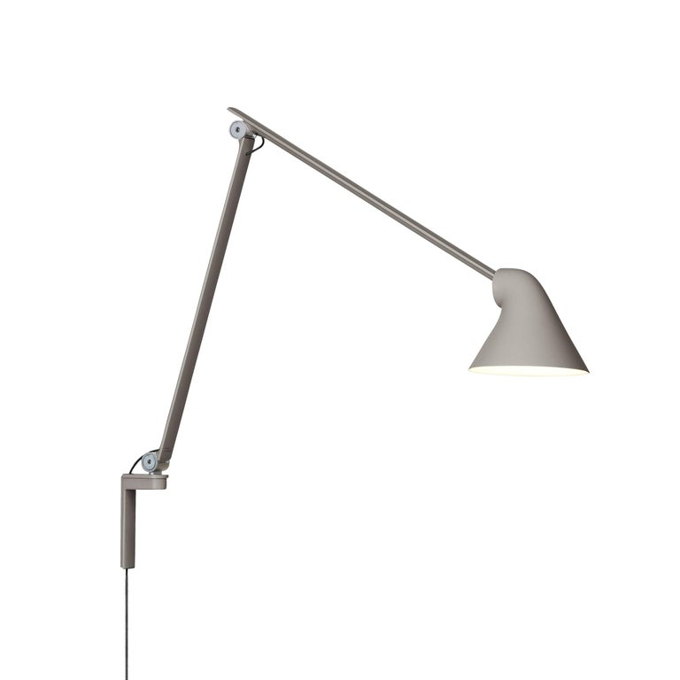 Danish Oki Sato NJP Gray Large Wall Light for Louis Poulsen For Sale
