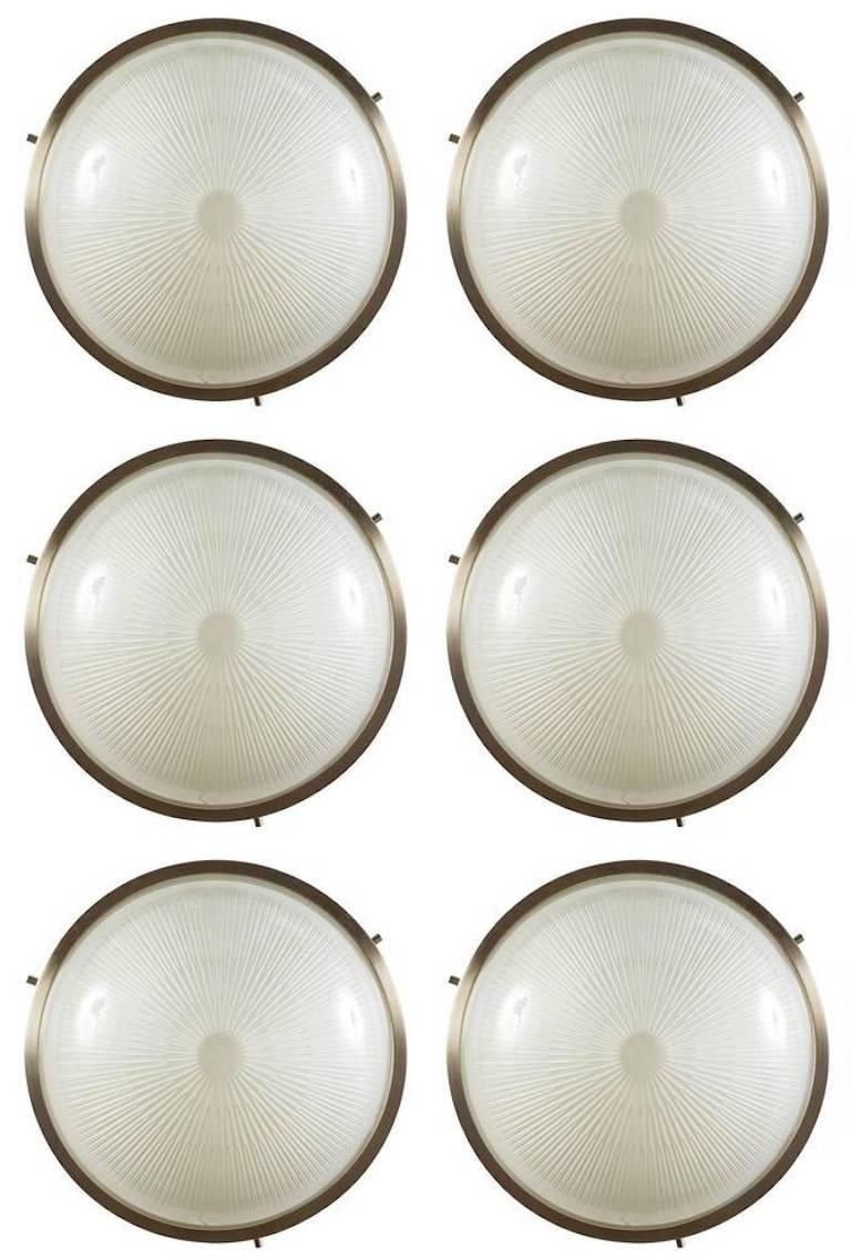 Opaline Glass 1960s Sergio Mazza 'Sigma' Wall or Ceiling Lights for Artemide, 1960s For Sale