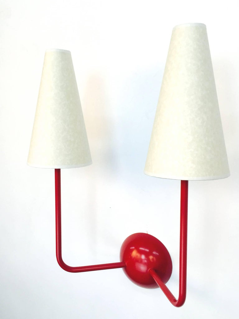 Two-Arm Black Wall Lamp in the Style of Jean Royère 2